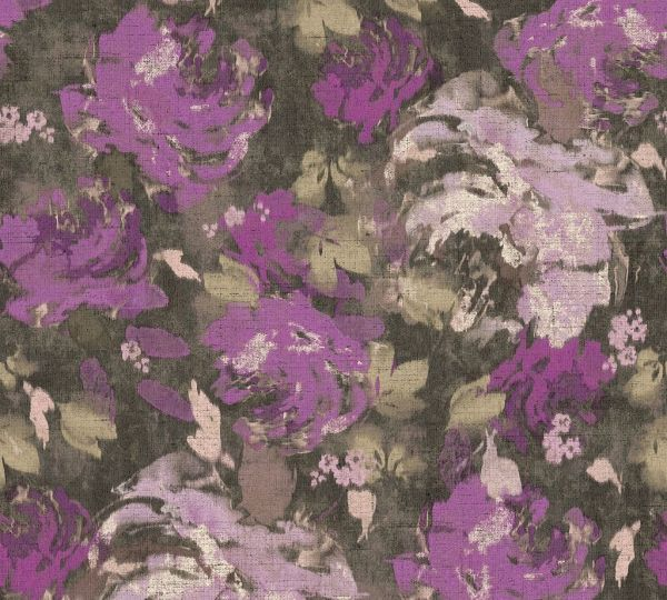 Florales Muster Vliestapete braun violett Character