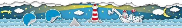 Selbstklebende Bordüre Meer Wale Leuchtturm 5,00m x 0,155m
