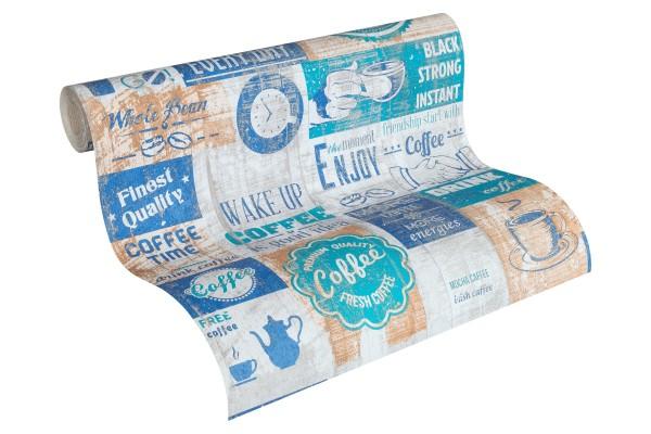 Papier Küchen Tapete Kaffe Coffee Cafe blau türkis
