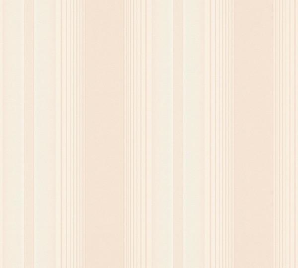 Vliestapete Streifen creme rose metallic