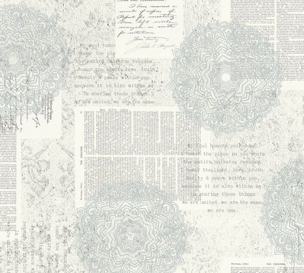 Vliestapete Mandala Ornament Schrift Ethno blau grau
