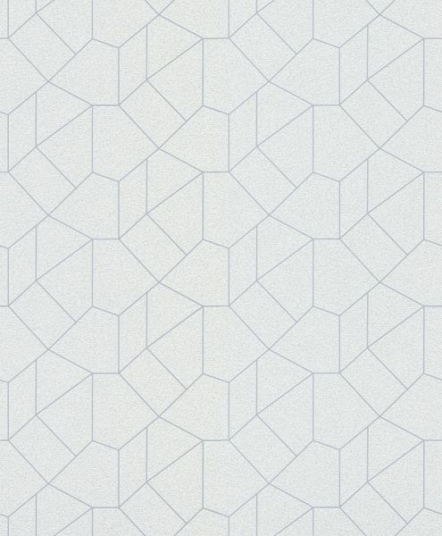 Vliestapete Carat grafisches Muster weiß silber glänzend