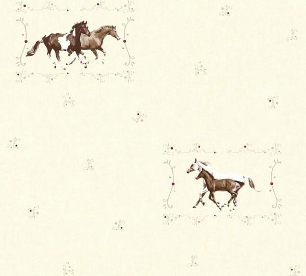 Kinder Vliestapete Pferde creme braun