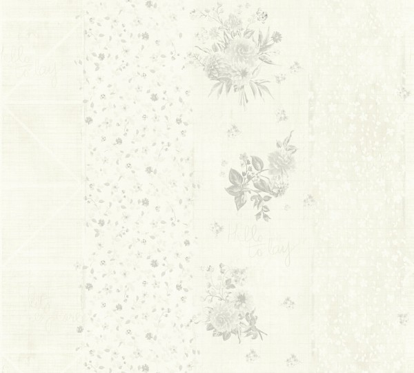 Vliestapete grafisch Streifen Blumen Schrift creme grau
