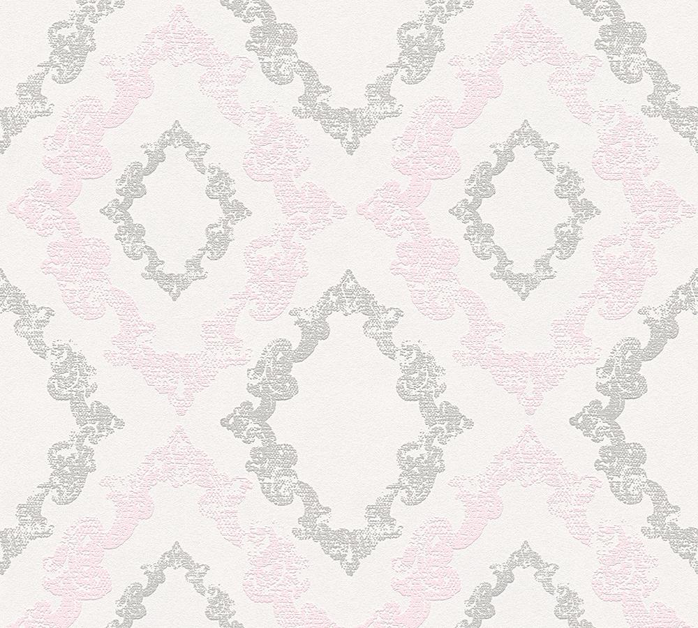 32989-2 Vliestapete Barock Ornament Glitzer grau rosa Memory 3 ...