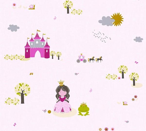 Vliestapete Kinder Schloss Prinzessin rosa pink