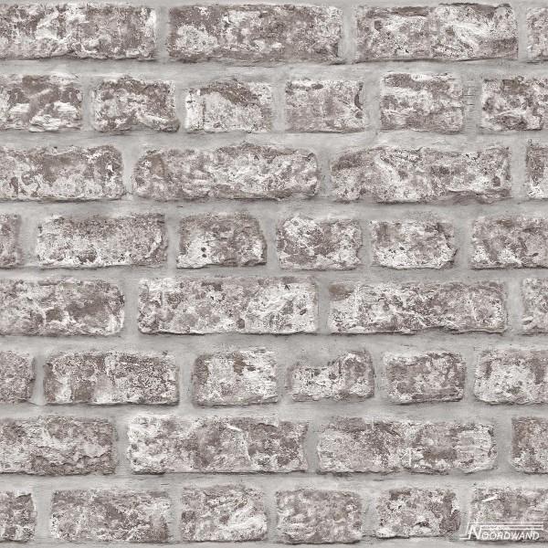 Vliestapete Mauer Klinker Ziegelstein braun grau