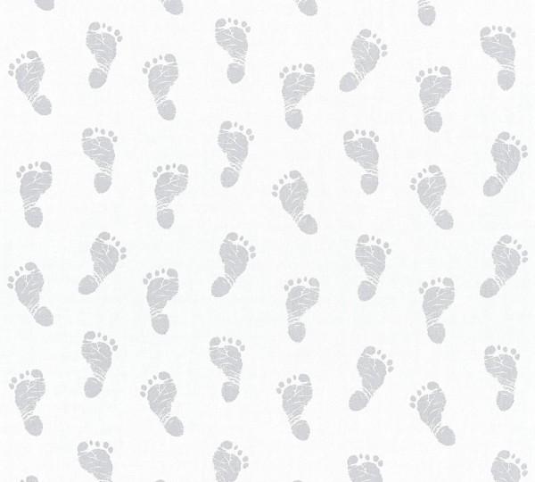Vliestapete Kinder Baby Fußabdruck weiß silber grau
