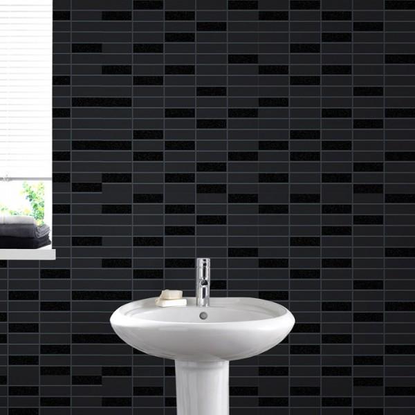 Vliestapete Fliesen Muster schwarz mit glitzer Rimini Kachel Optik