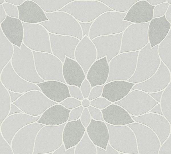 Vliestapete Blüten Ornament silber Glitzer Klara