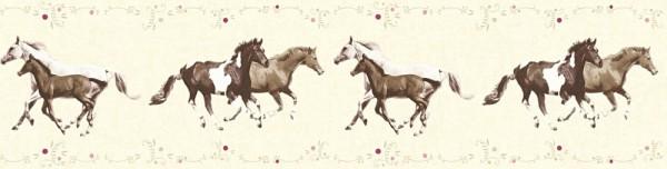 Tapeten Bordüre Kinder Pferde creme braun