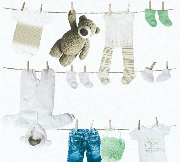 Kinder Vliestapete Wäscheleine Teddy Kleidung weiß mint blau