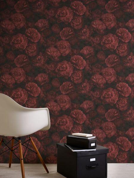 Blumen Vliestapete Rosen bordeaux rot