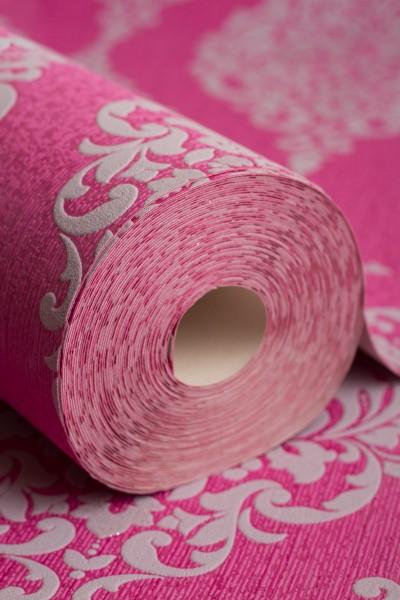 Vinyl Tapete Barock Muster Ornament pink grau glitzer effekt klassisch