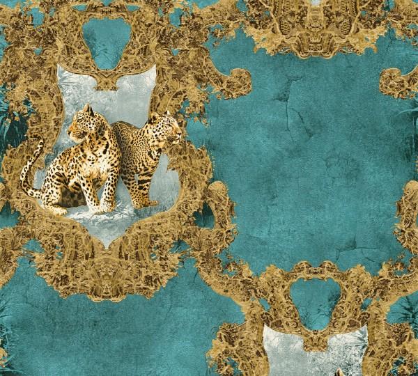 Vliestapete Barock Leoparden petrol gold Glanz Effekt