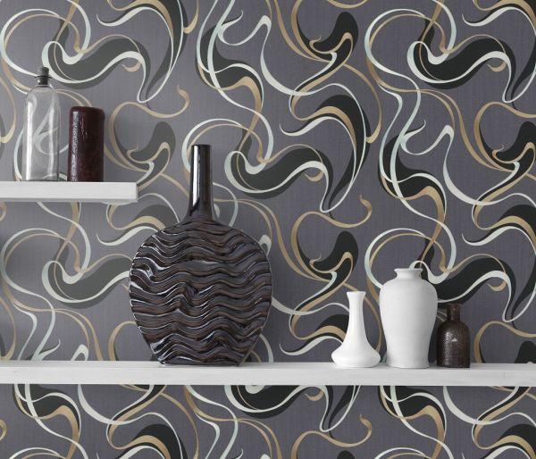 Vliestapete Design Wellen Optik metallic anthrazit schwarz silber gold