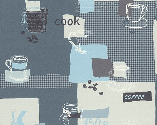 Vinyl Küchen Tapete blau weiß creme Coffee Kaffeetassen