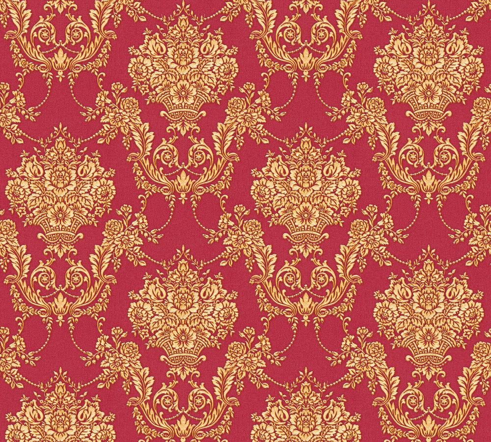 vlies tapete barock ornament rot gold glanz metallic 34492. Black Bedroom Furniture Sets. Home Design Ideas