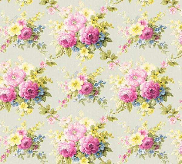 Vliestapete Blumen Bouquet hellgrün bunt Chateau 5