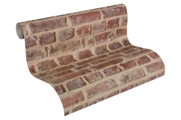 Prägetapete Ziegelstein Bruchstein Mauer terra rot rost beige
