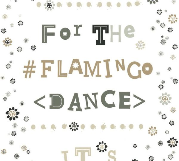 Vliestapete Blümchen Flamingo Dance Schrift weiß braun