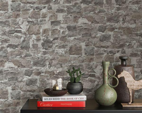 Vliestapete Bruchstein Mauer Naturstein brick braun grau