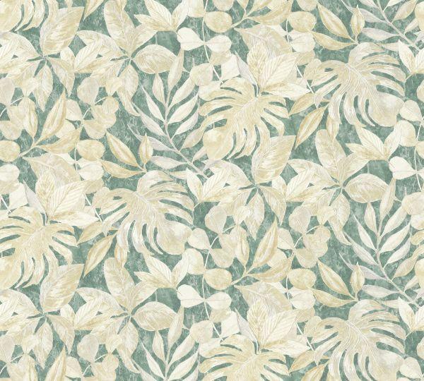 Vliestapete Floral Blätter grün creme Aloha Großrolle