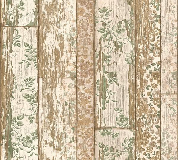 Landhaus Holz beige Blumen Vliestapete Marie