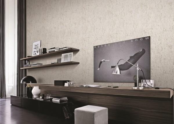 Vliestapete Kork Beton Optik creme weiß silber metallic schimmernd