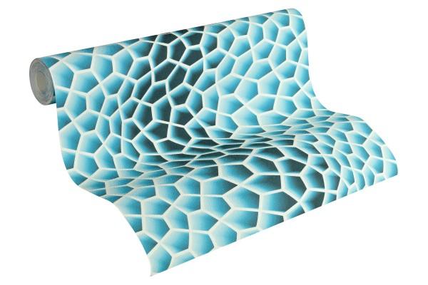 Vliestapete 3D Wellen Optik blau türkis by Mac Stopa