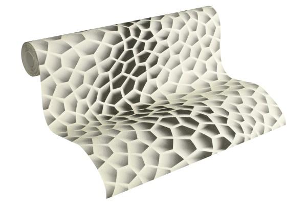 Vliestapete 3D Wellen Optik creme grau by Mac Stopa