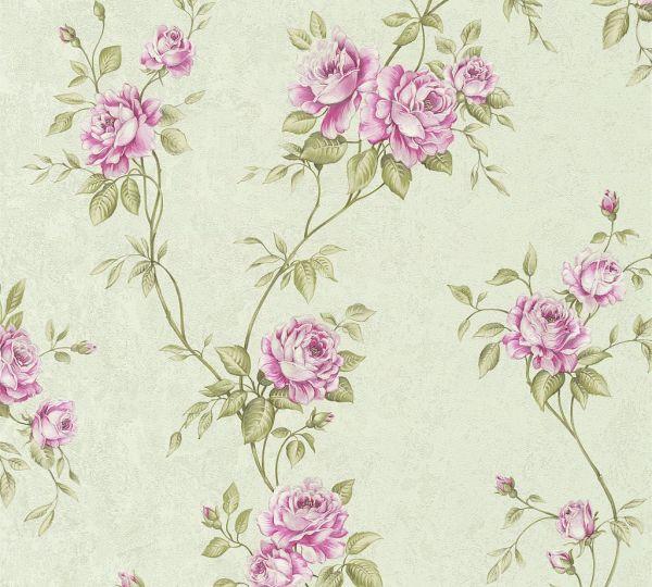 Rosenranken Vliestapete grün rosa