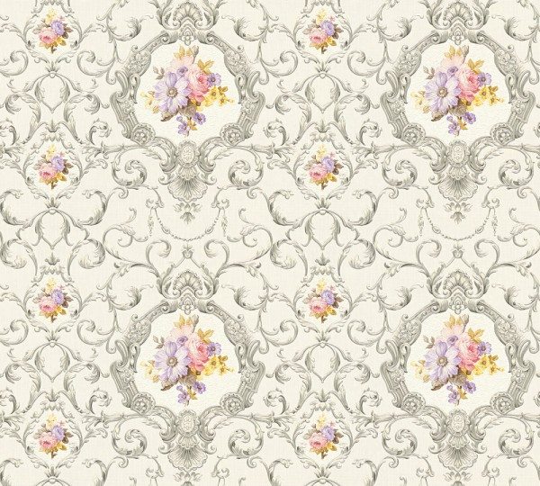 Vliestapete Ranken Blumen silber grau bunt Chateau 5
