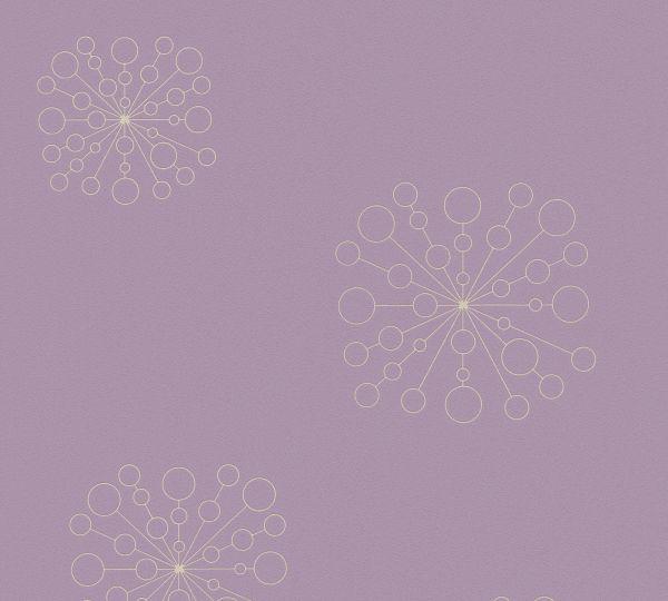 Vliestapete geometrische Blumen lila gold