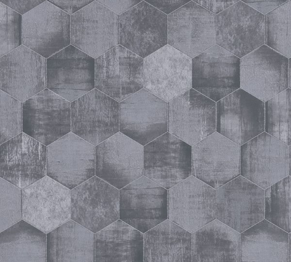 Turbo 363303 Vliestapete Hexagon Muster grafisch Waben grau silber QZ12