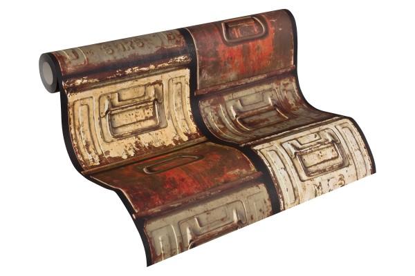 Vliestapete Stahlkisten Metall Schubkästen Vintage terra beige