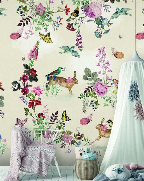 Vlies Fototapete Vintage Fairytale Märchen Tiere beige Wandbild 200 x 280 cm