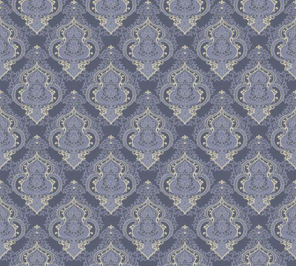 Vliestapete Barock Ornament blau grau metallic Großrolle
