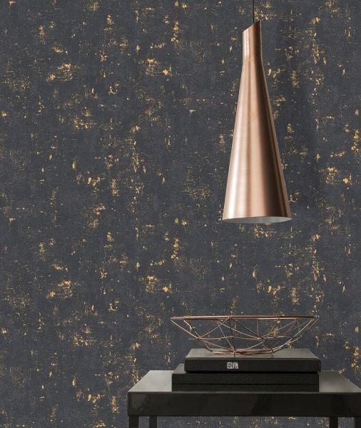 Uni Vliestapete Beton Optik Steinwand schwarz gold metallic