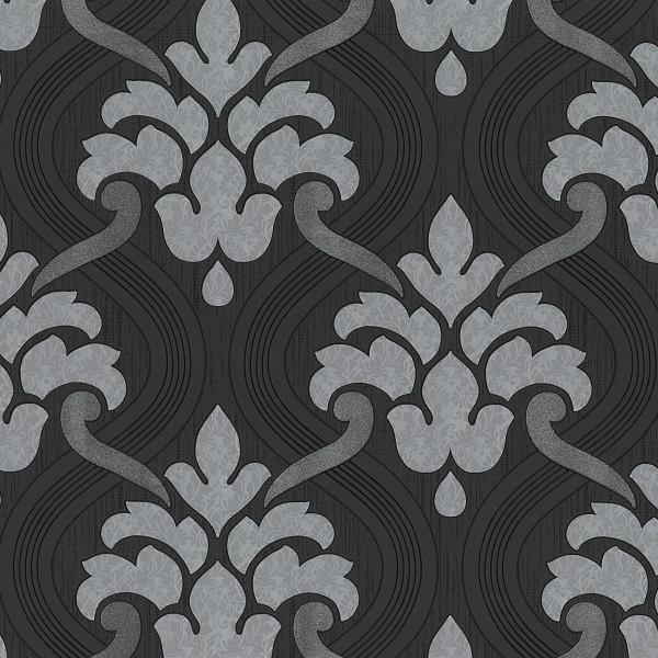 Vliestapete Barock Ornament schwarz silber Glitzer