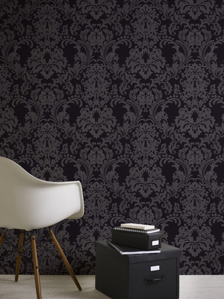 Vliestapete Barock Ornament schwarz silber Klara