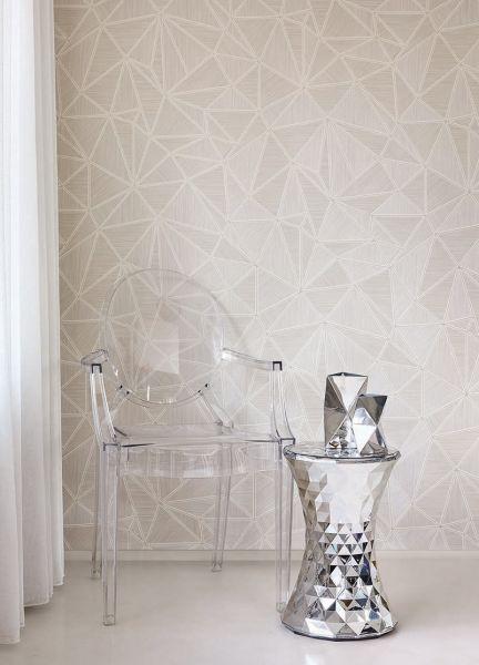 Vliestapete geometrisches Motiv mit metallischen Linien creme silber Großrolle