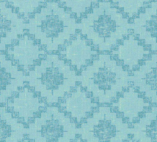 Vliestapete Rauten Ethno Kelim Optik blau