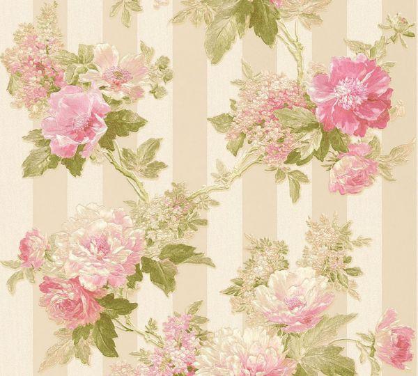 Elegante Blumen Vliestapete Streifen beige grün rosa