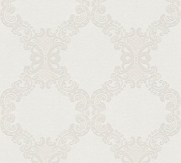 Vliestapete Barock Ornament beige hellgrau Elegance