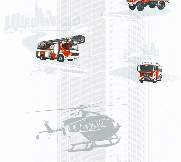 Kinder Vliestapete Feuerwehr Autos weiß rot