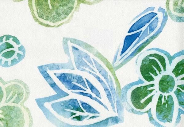 Vliestapete Retro Blumen Muster weiß grün blau türkis
