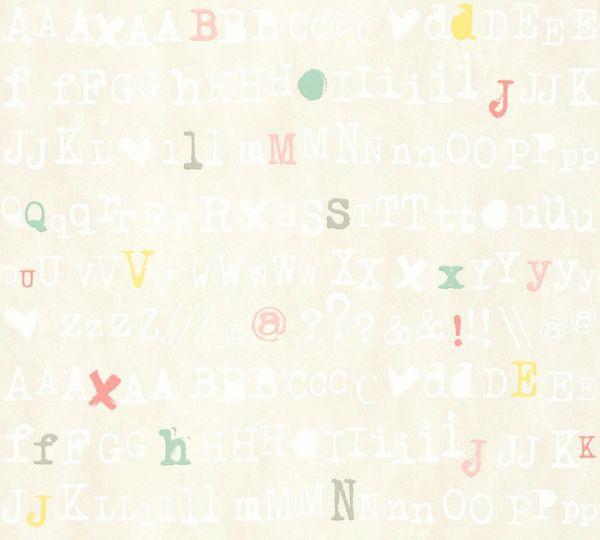 Buchstaben Schrift Vliestapete creme bunt