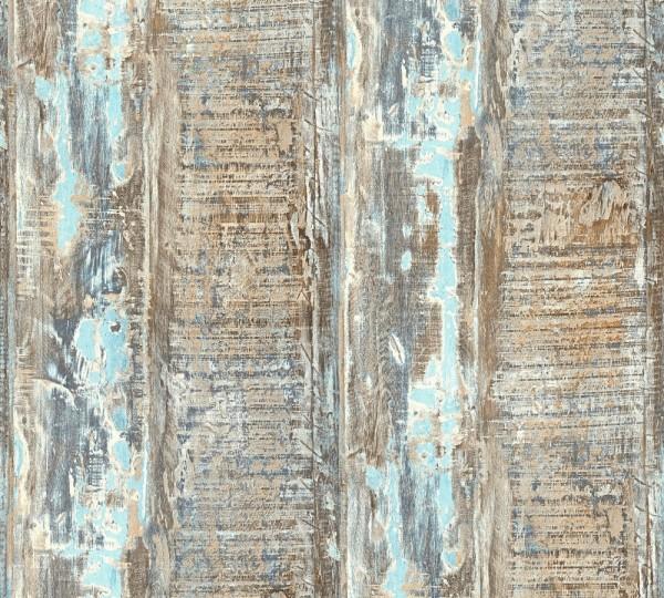Vliestapete Holz Optik verwittert blau türkis Côte d`Azur