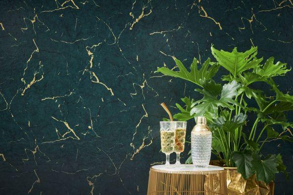 Vliestapete Marmor Optik grün gold metallic